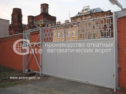 Откатные комбинированные ворота орнамент