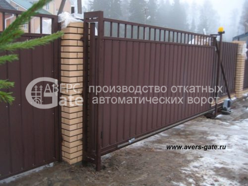 Ворота откатные комбинированные пруток