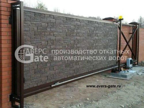 Откатные ворота пластиковые фасадные панели под камень